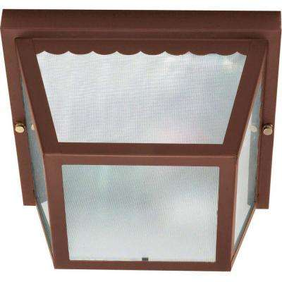 2-Light Outdoor Old Bronze Flush Mount