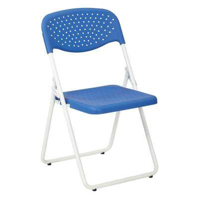 Blue/White Plastic Seat and Metal Stackable Folding Chair (Set of 4)