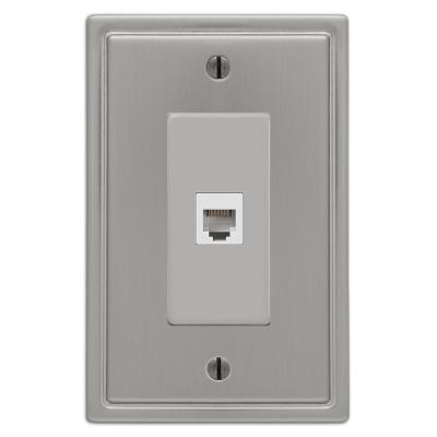 Moderne 1 Gang Phone Steel Wall Plate - Brushed Nickel