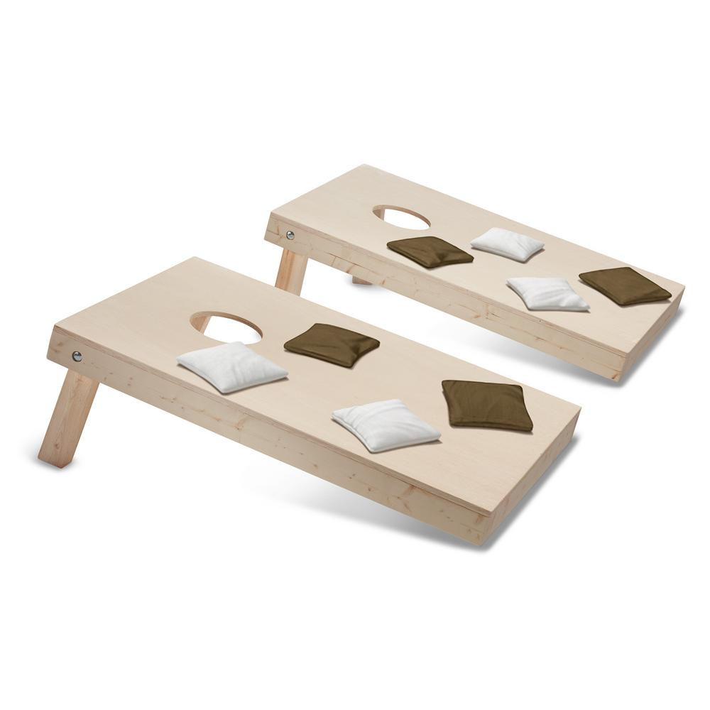 Take-And-Play Cornhole Toss Game Set with Brown and White Bags