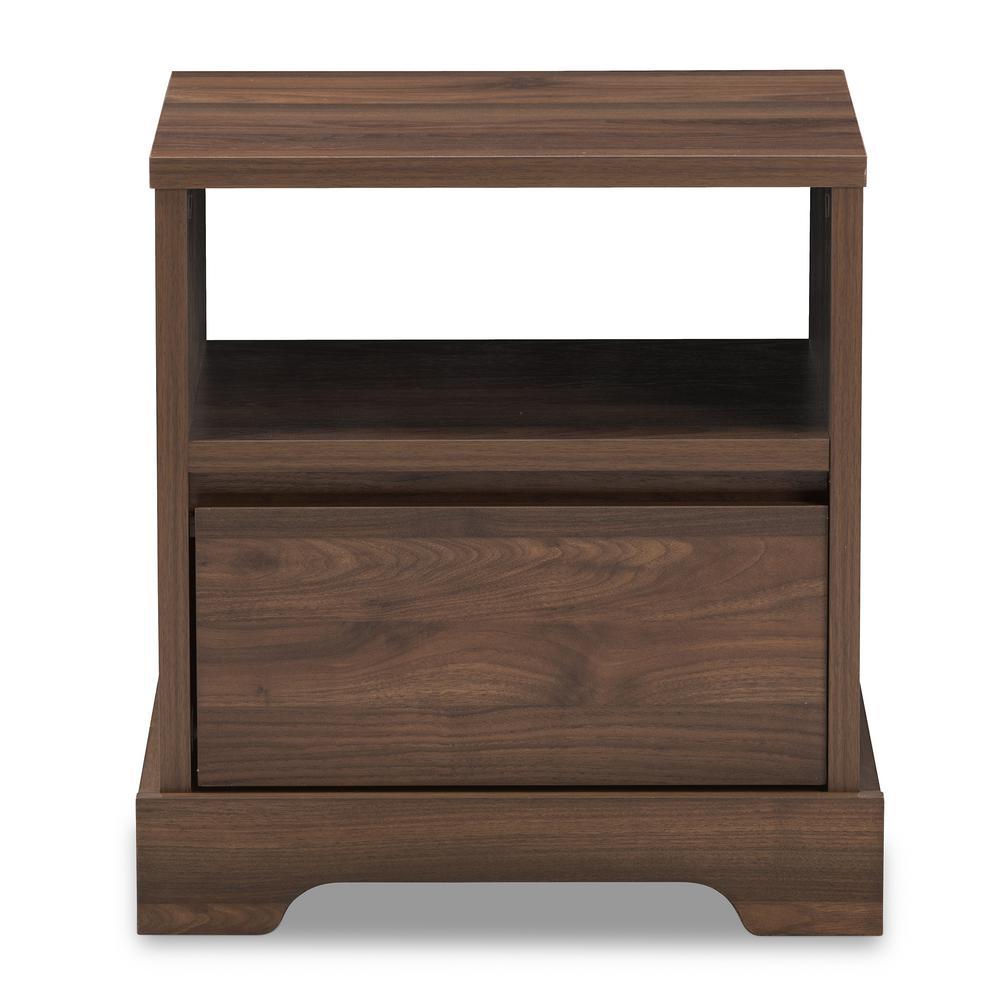 Baxton Studio Burnwood 1-Drawer Brown Nightstand