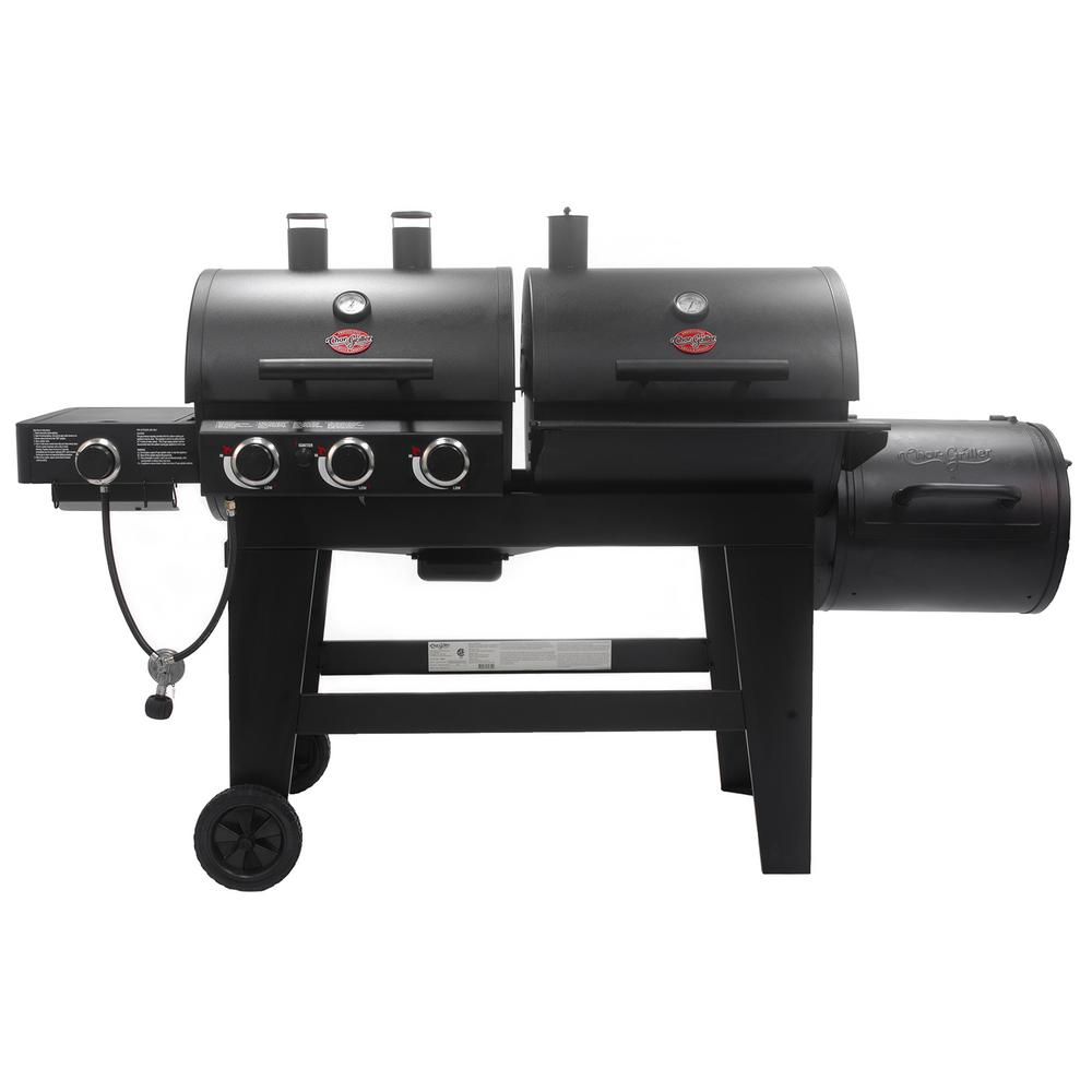 Char Griller Triple Play 3-Burner Gas, Charcoal Grill and Horizontal Smoker in Black