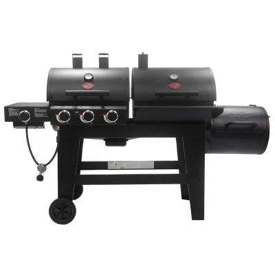 Triple Play 3-Burner Gas, Charcoal Grill and Horizontal Smoker in Black