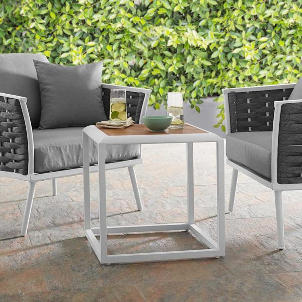 Stance Aluminum Outdoor Side Table in White Natural