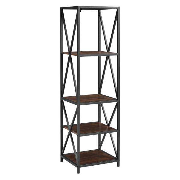 Walker Edison Furniture Company 61 In Dark Walnut Black Metal 4 Shelf Etagere Bookcase With Open Back Hdst18xmwdw The Home Depot