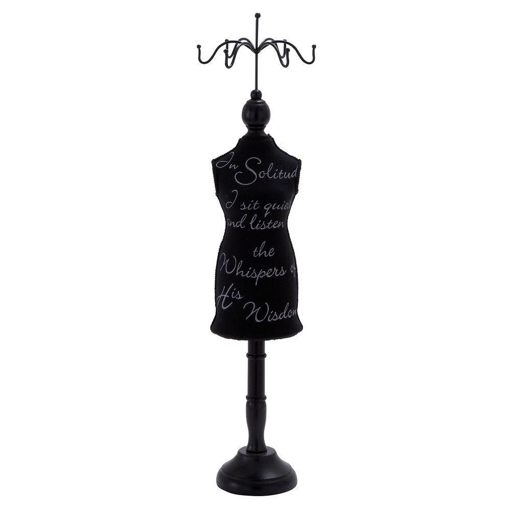 26 in. Script Wood Jewelry Holder in Black, Blacks