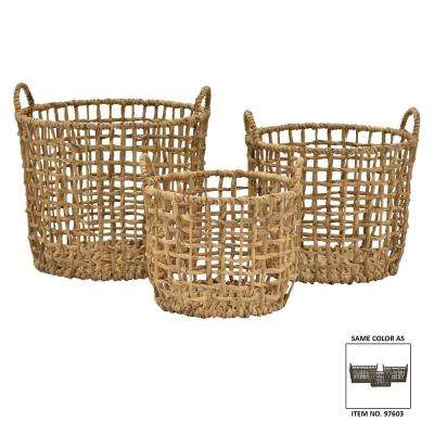 17 in. x 16.5 in. Water Hyacinth Baskets (Set of 3)