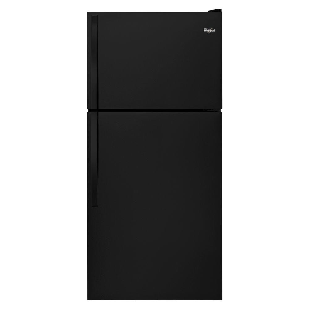 Whirlpool 18.2 cu. ft. Top Freezer Refrigerator in Black There's always a place for fresh and frozen favorites inside this Whirlpool 30 in. wide top-freezer refrigerator with 18 cu. ft. capacity. For more convenient storage options above the refrigerator crisper, the Flexi-Slide bin quickly moves side-to-side. Electronic temperature controls let you choose the right temperature for your frozen favorites. Plus, you won't have to fill your ice trays in this top-freezer refrigerator again with the factory-installed icemaker. Color: Black.