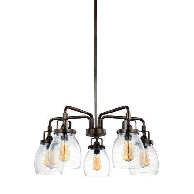 Belton 23.875 in. W 5-Light Heirloom Bronze Single Tier Chandelier with Clear Seeded Glass