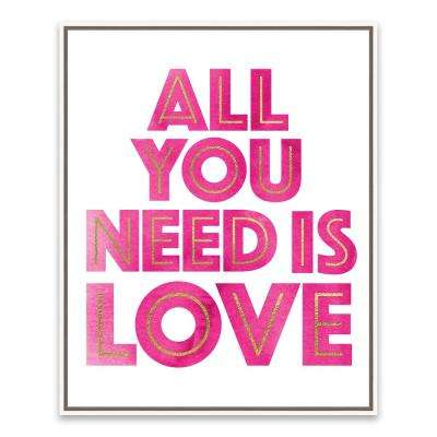 """17 in. x 21 in. """"All You Need is Love"""" by Nikki Chu Foil Embellished Framed Printed Canvas Wall Art"""