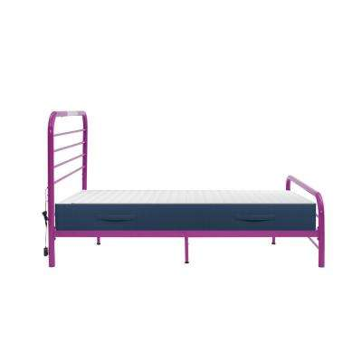 Timothy Full Size Complete Bed with Task Lighting in Magenta Purple Metal