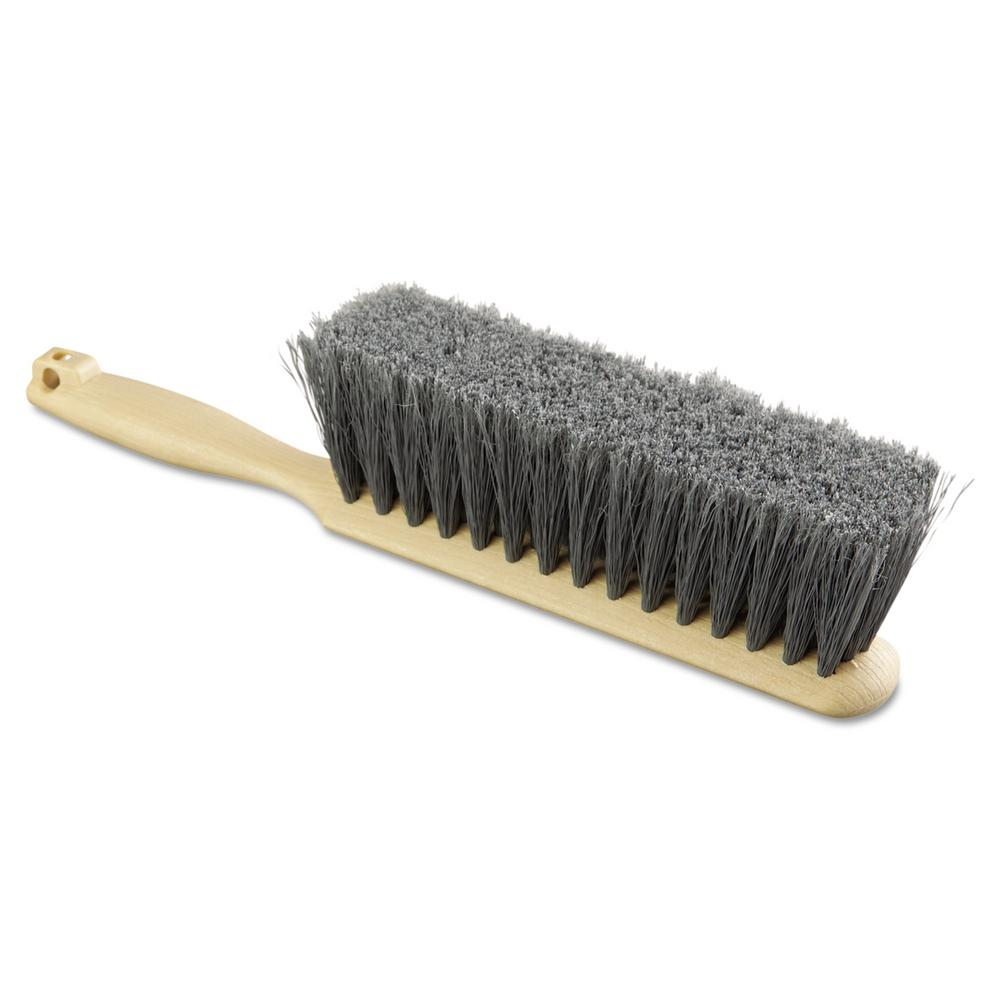 8 in. Flagged Polypropylene Bristle Counter Brush with Tan Handle
