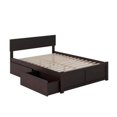 Orlando Espresso Full Platform Bed with Flat Panel Foot Board and 2-Urban Bed Drawers