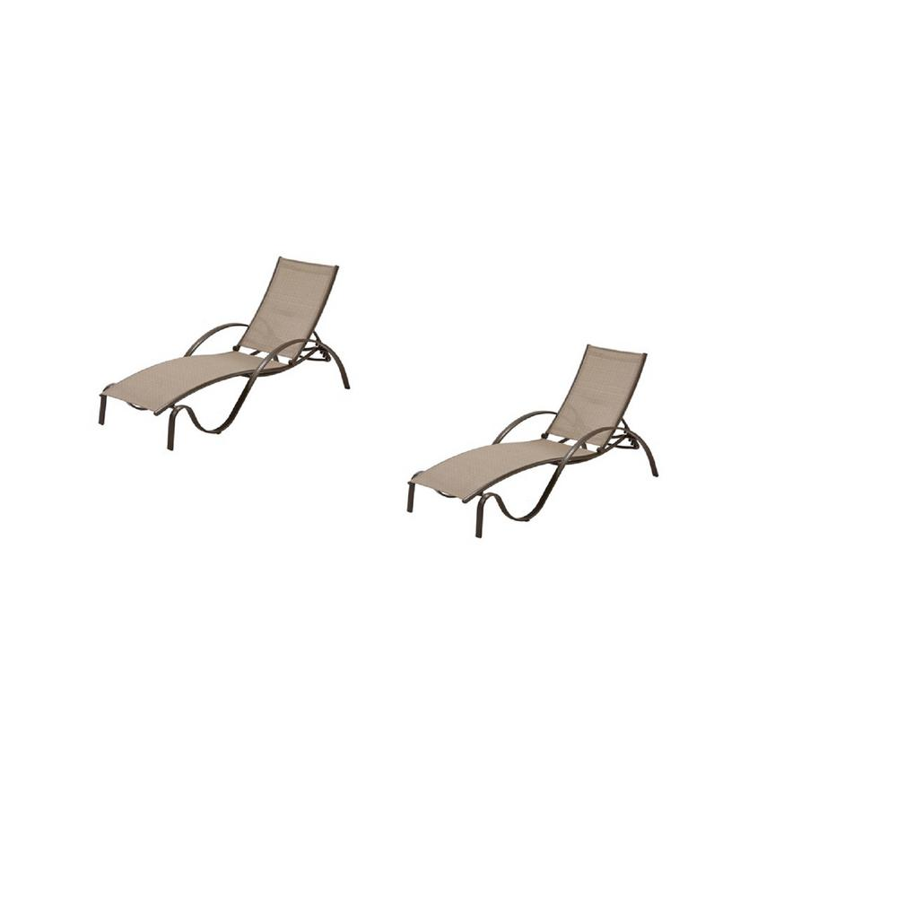 Hampton Bay Commercial Grade Aluminum Brown Outdoor Chaise Lounge in Sunbrella Elevation Stone Sling (2-Pack)