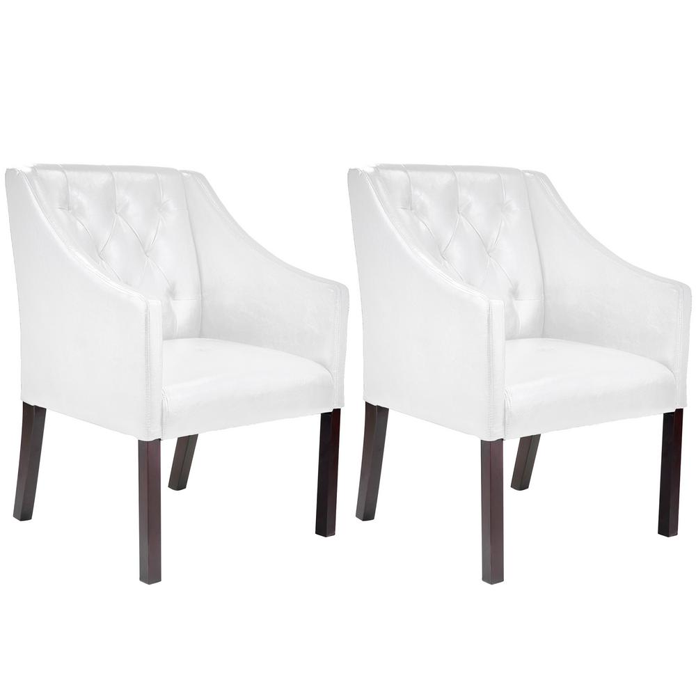 Antonio White Bonded Leather Accent Club Chair (Set of 2)