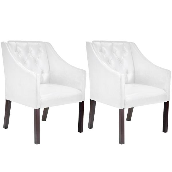 CorLiving Antonio White Bonded Leather Accent Club Chair (Set of 2)