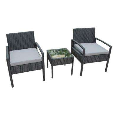 Black 3-Piece Wicker Patio Conversation Set with Gray Cushions