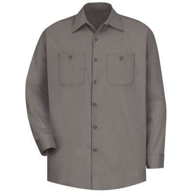 Men's Size L Graphite Grey Wrinkle-Resistant Cotton Work Shirt