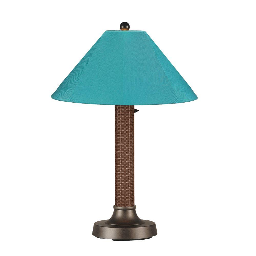 Bahama Weave 34 in. Red Castagno Outdoor Table Lamp with Aruba