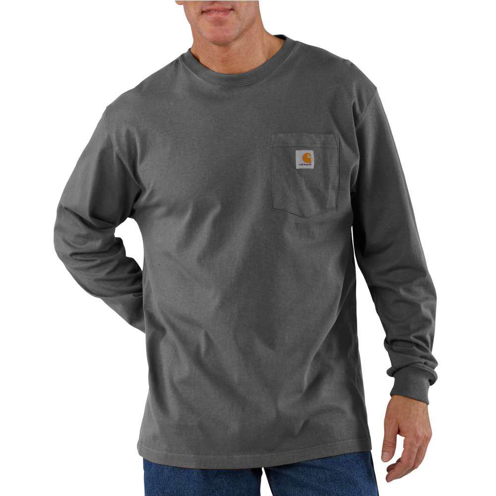 Men's Regular XX Large Charcoal Cotton Long-Sleeve T-Shirt
