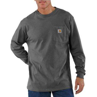 Men's Regular Medium Charcoal Cotton Long-Sleeve T-Shirt