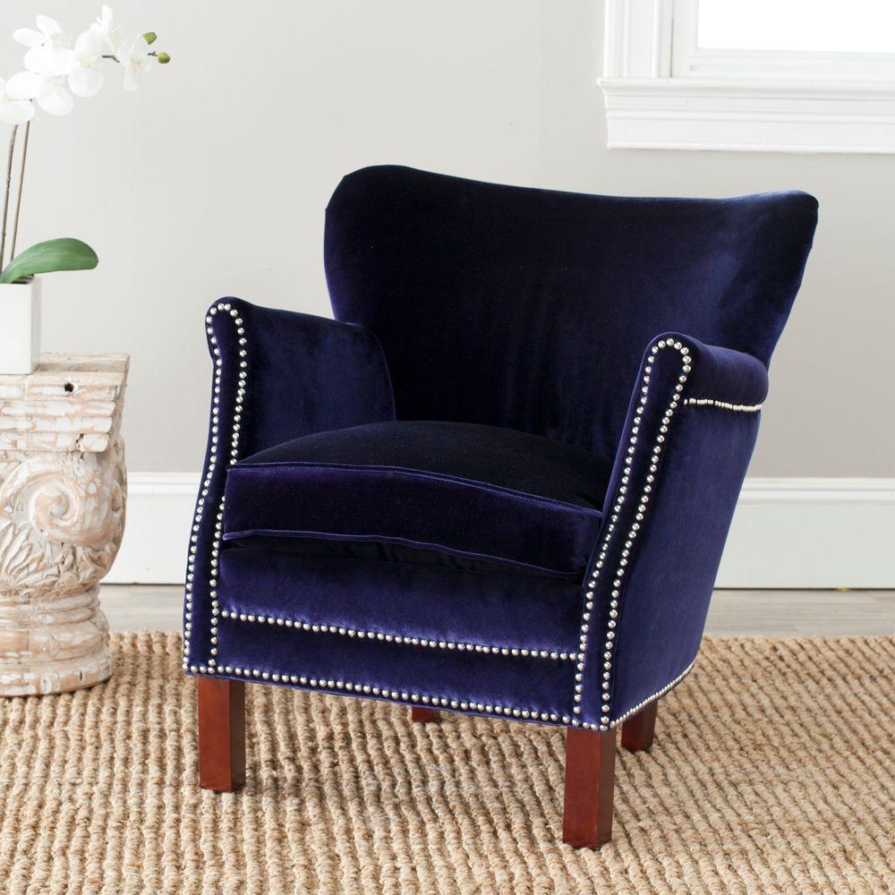 Internet #205665971. +4. Safavieh Jenny Royal Blue/Cherry Mahogany Velvet  Polyester Arm Chair