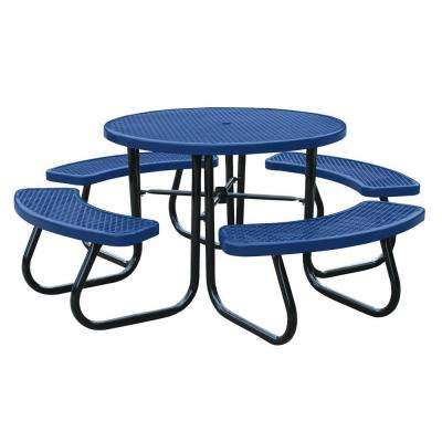 46 in. Blue Picnic Table with Built-In Umbrella Support