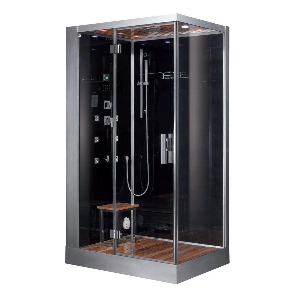 Ariel 47 inch x 35.4 inch x 89 inch Steam Shower Enclosure Kit in Black by Ariel