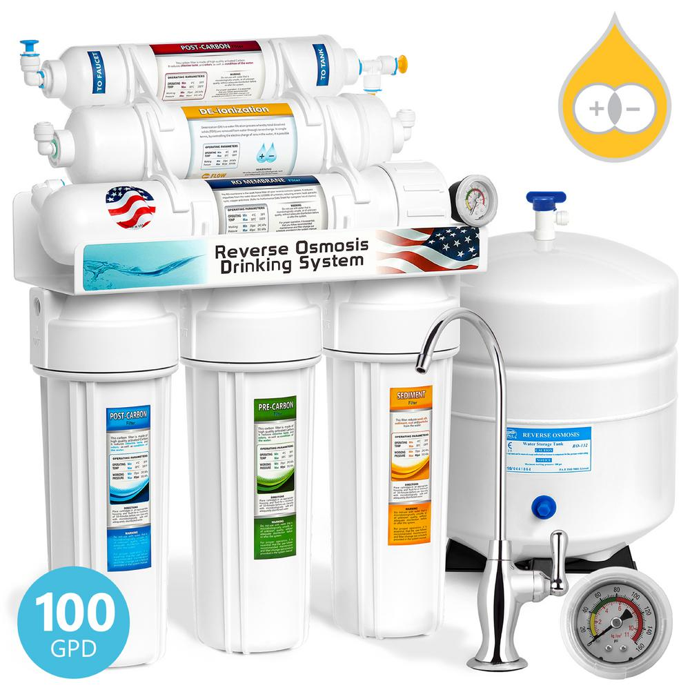 Deionization Under Sink Reverse Osmosis Water Filtration System - 6 Stage