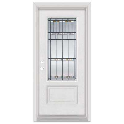 32 in. x 80 in. Architect Right-Hand Patina Finished Fiberglass Mahogany Woodgrain Prehung Front Door Brickmould