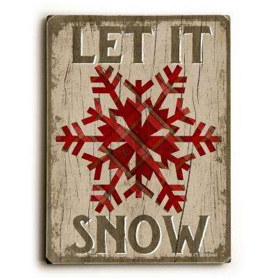 "9 in. x 12 in. ""Let it Snow"" by Misty Diller Solid Wood Wall Art"