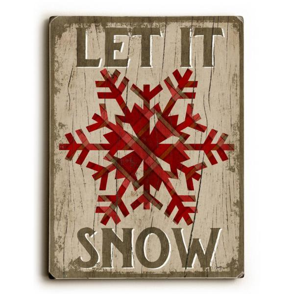 9 In X 12 In Let It Snow By Misty Diller Solid Wood Wall Art