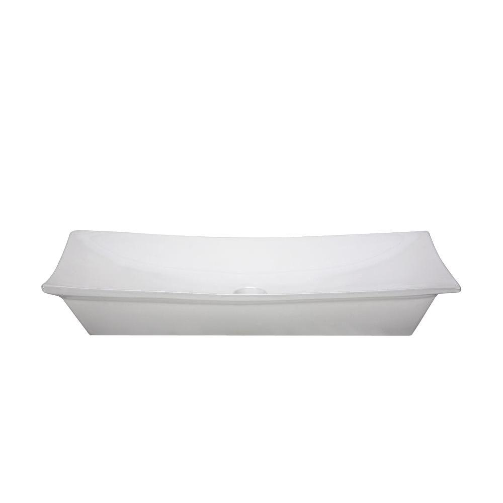 Ryvyr Rectangular Vitreous China Vessel Sink In White Cve3150rc The Home Depot