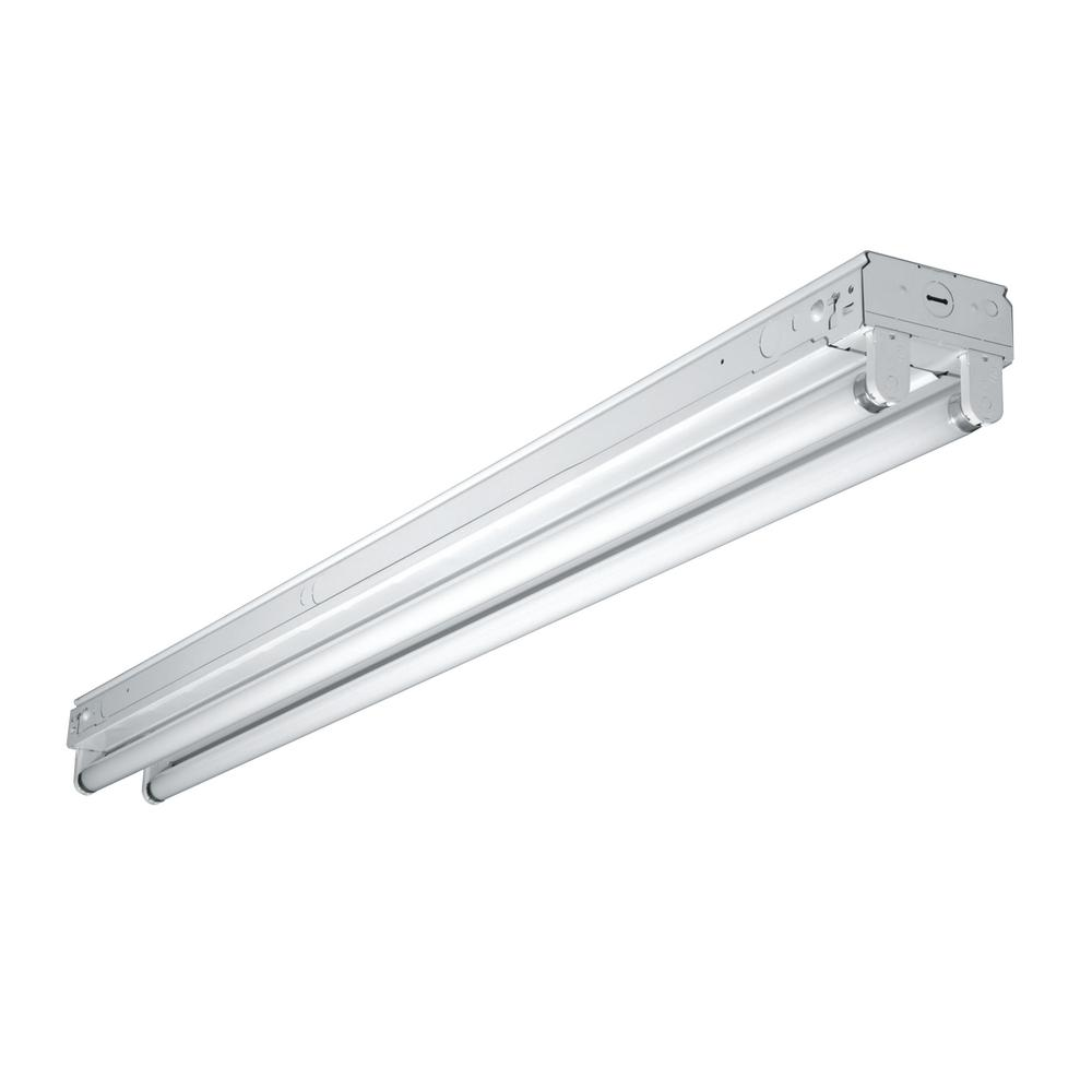 Metalux 8 ft. Fluorescent White Strip Light Fixture with 2 T8 Light Sockets