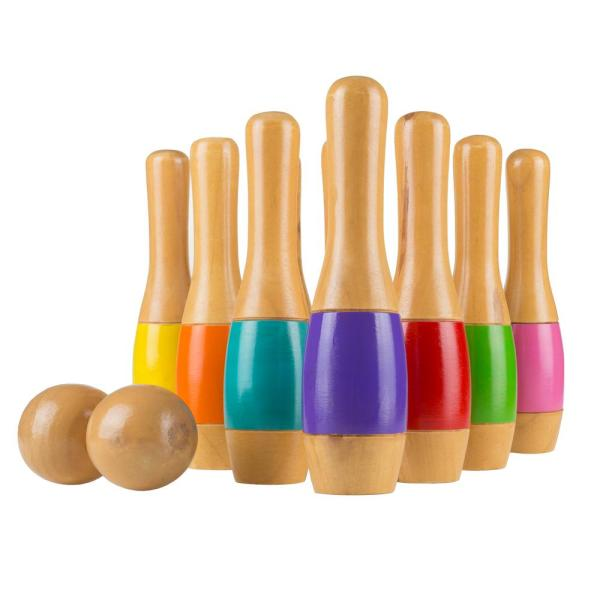9.5 in. Wooden Multi Colored Bowling Lawn Game
