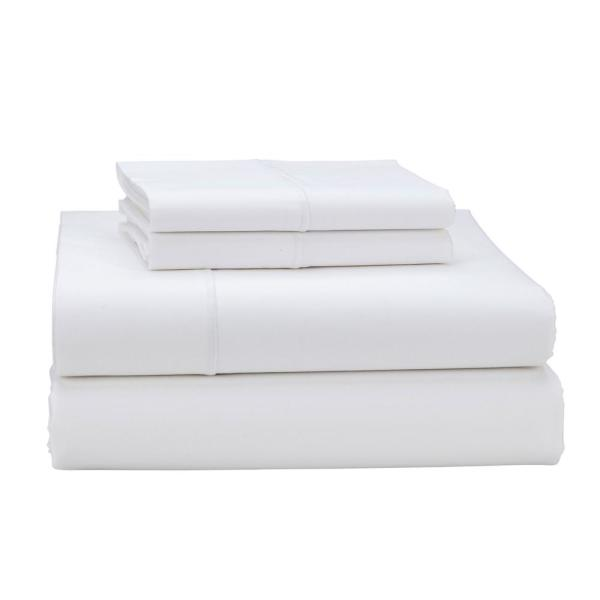 The Company Store Classic Solid 4-Piece White 350-Thread Count Sateen King