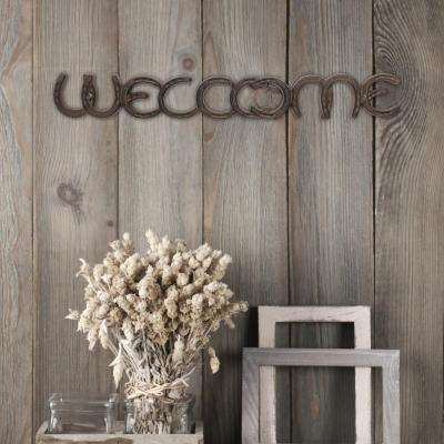 "21 in. x 3 in. Weathered Rust Cast Iron Horseshoe ""WELCOME"" Wall Art"