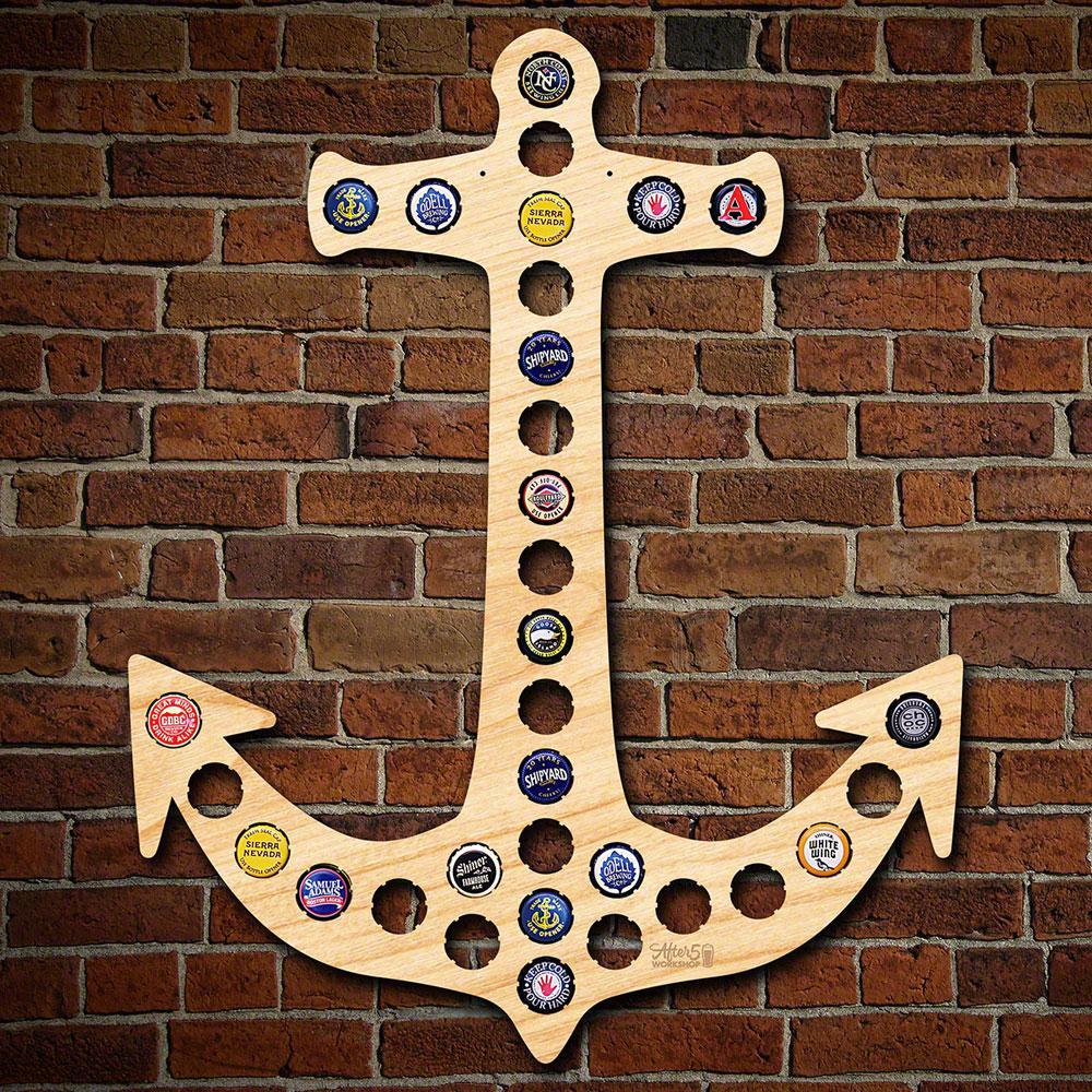 17 in. x 22 in. Wooden Anchor Beer Cap Map