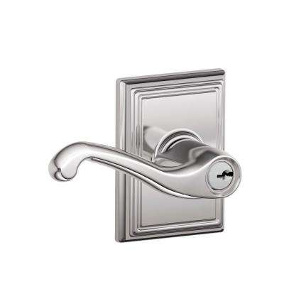 Flair Bright Chrome Keyed Entry Door Lever with Addison Trim