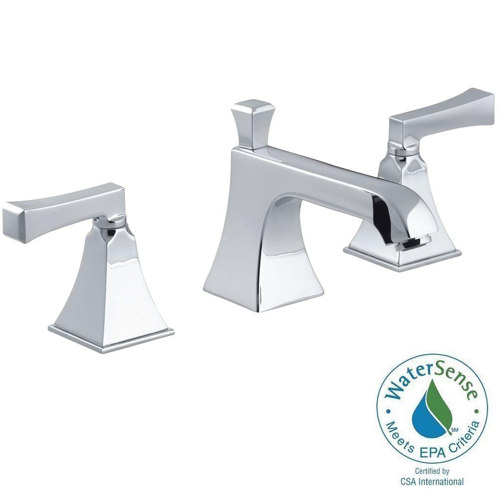 KOHLER Memoirs 8 In. Widespread 2 Handle Low Arc Water Saving Bathroom  Faucet In Polished Chrome With Deco Lever Handles K 454 4V CP   The Home  Depot