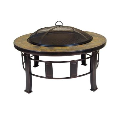 Outdoor Leisure Firepit with 30 inch diameter, decorative slate hearth, and oil rubbed bronze finish