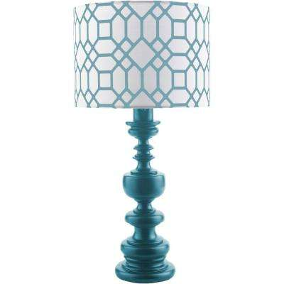 Wallace 28.5 in. Teal Indoor/Outdoor Table Lamp with Blue Print Shade