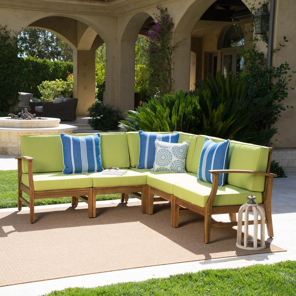 Giancarlo teak 5 piece wood outdoor sectional with green cushions