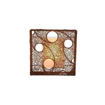 Cascade 24 in. Dark Brown Wall Sconce With Natural Rattan Weave