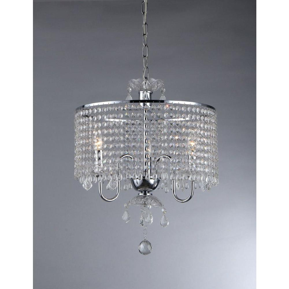 Warehouse of Tiffany Elija 3-Light Chrome Crystal Chandelier with ...