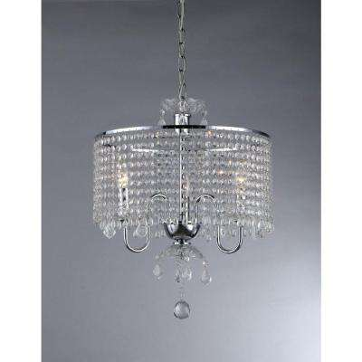 Elija 3-Light Chrome Crystal Chandelier with Shade