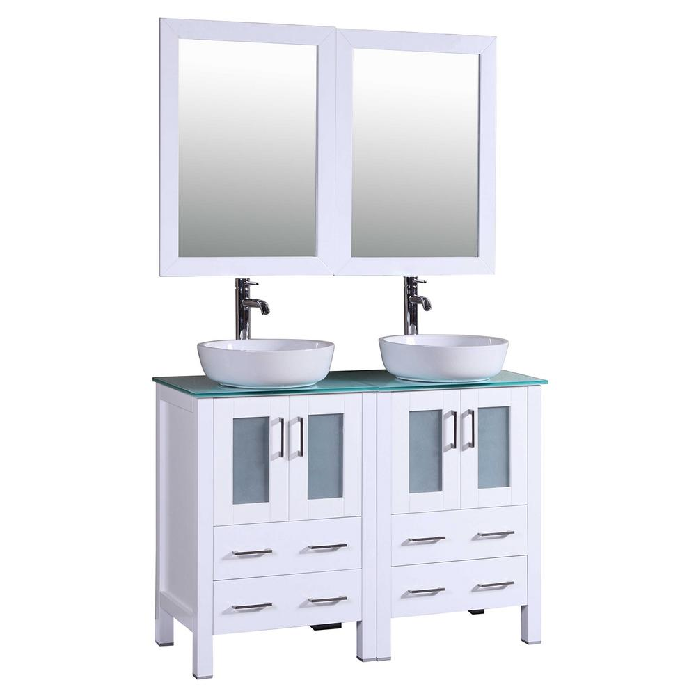 48 In W Double Bath Vanity In White With Tempered Glass Vanity Top