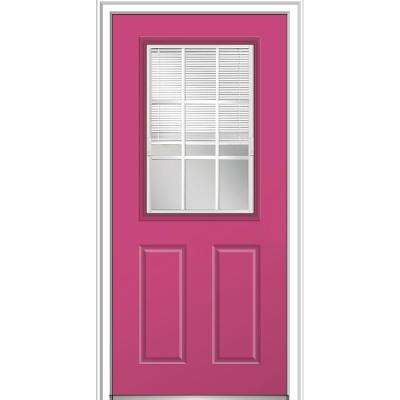 36 in. x 80 in. Internal Blinds GBG Low-E Glass Left-Hand 1/2-Lite Clear Painted Fiberglass Smooth Prehung Front Door