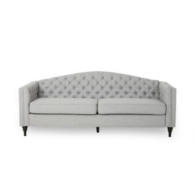 Antoine 83.5 in. Cloud Grey Solid Fabric 3-Seats Camelback Sofa with Removable Cushions