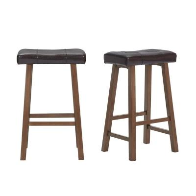 Walnut Wood Upholstered Bar Stool with Brown Faux Leather Saddle Seat (Set of 2) (18.75 in. W x 30 in. H)